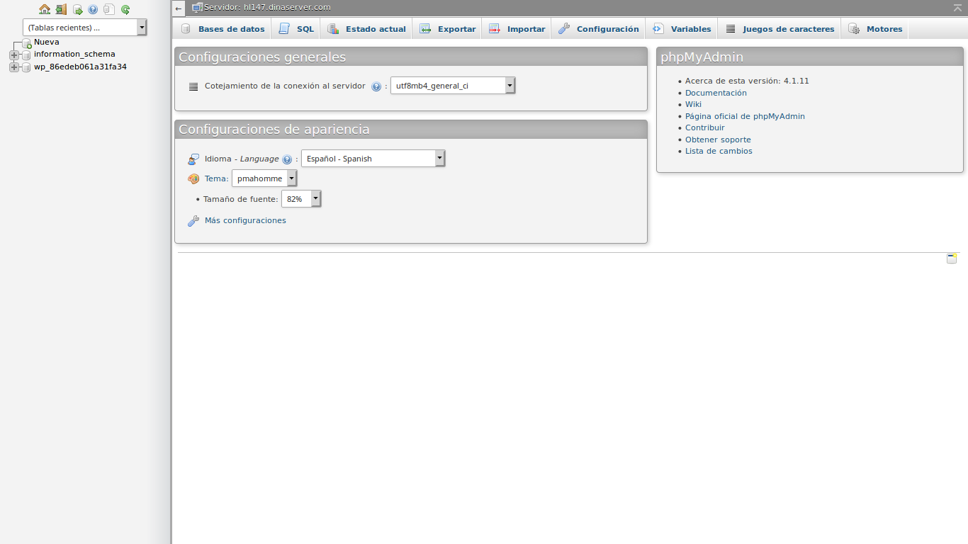 acceso panel phpmyadmin