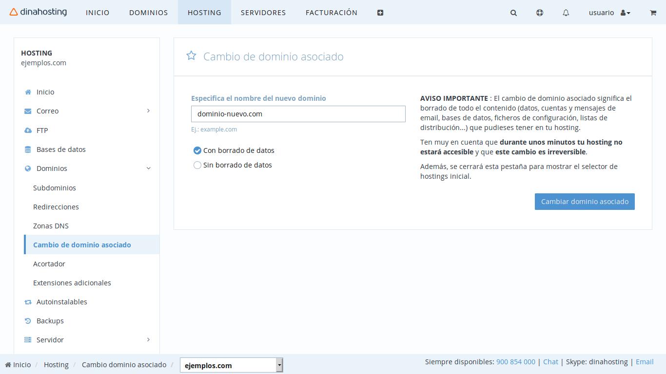 cambiar el dominio asociado a mi plan de hosting
