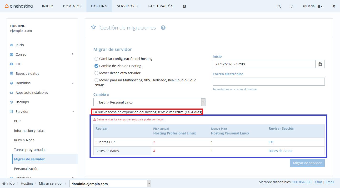 cambiar plan de hosting en dinahosting
