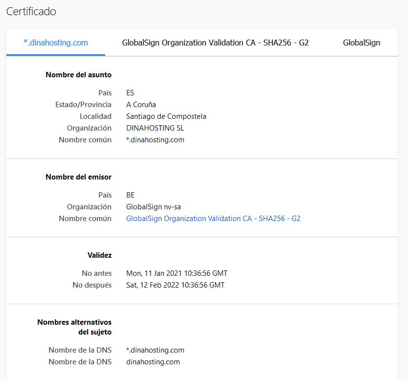 Detalles certificado SSL