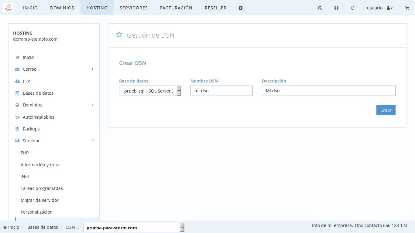 crear una DSN para Access en dinahosting