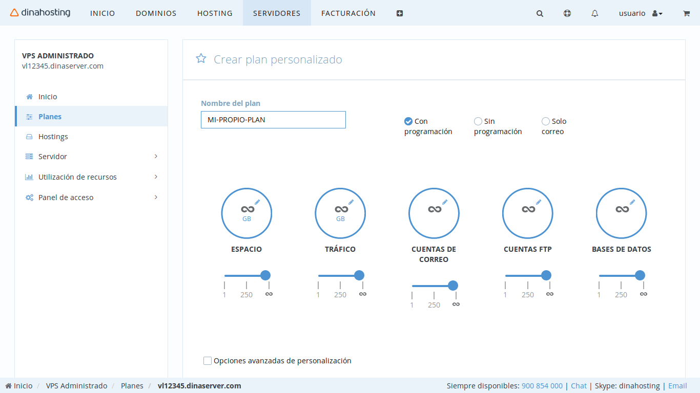 Crear planes personalizados de hosting