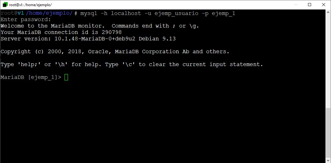 MySQL desde SSH