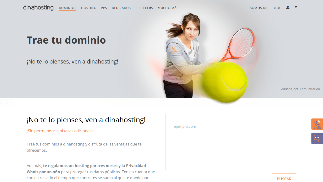 trasladar dominio genérico a dinahosting