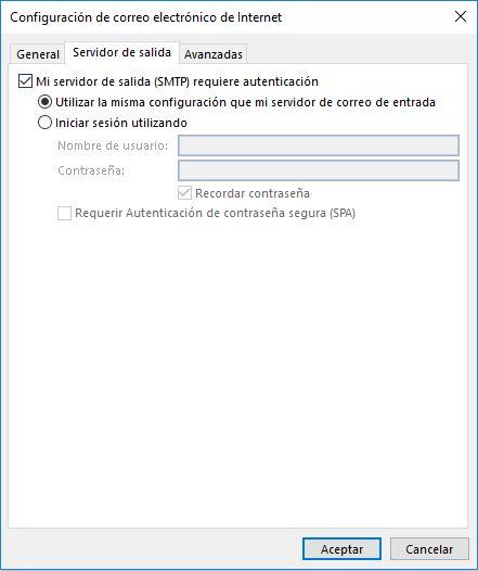 configuración correo Outlook 2016