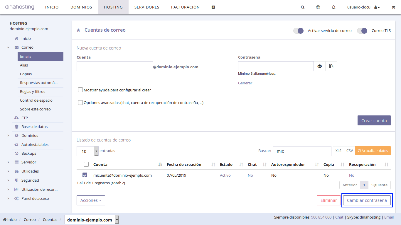 cambiar contraseña email dinahosting