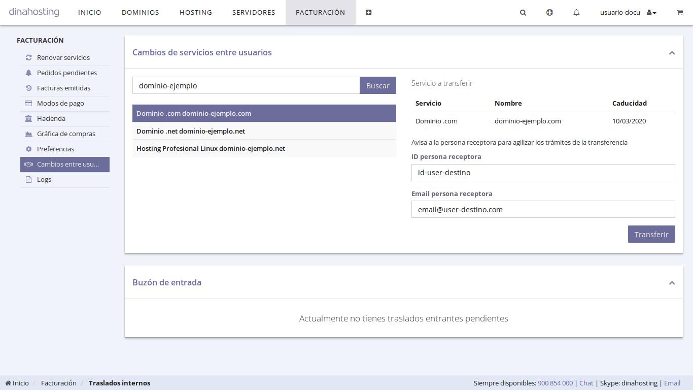 transferir un servicio a otra cuenta dinahosting