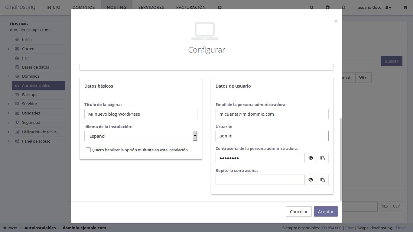 configurar WordPress dinahosting