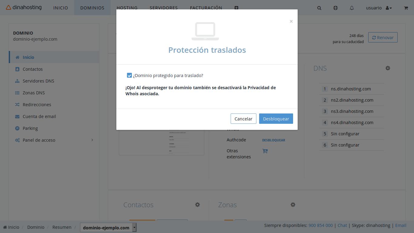 desbloquear dominio dinahosting