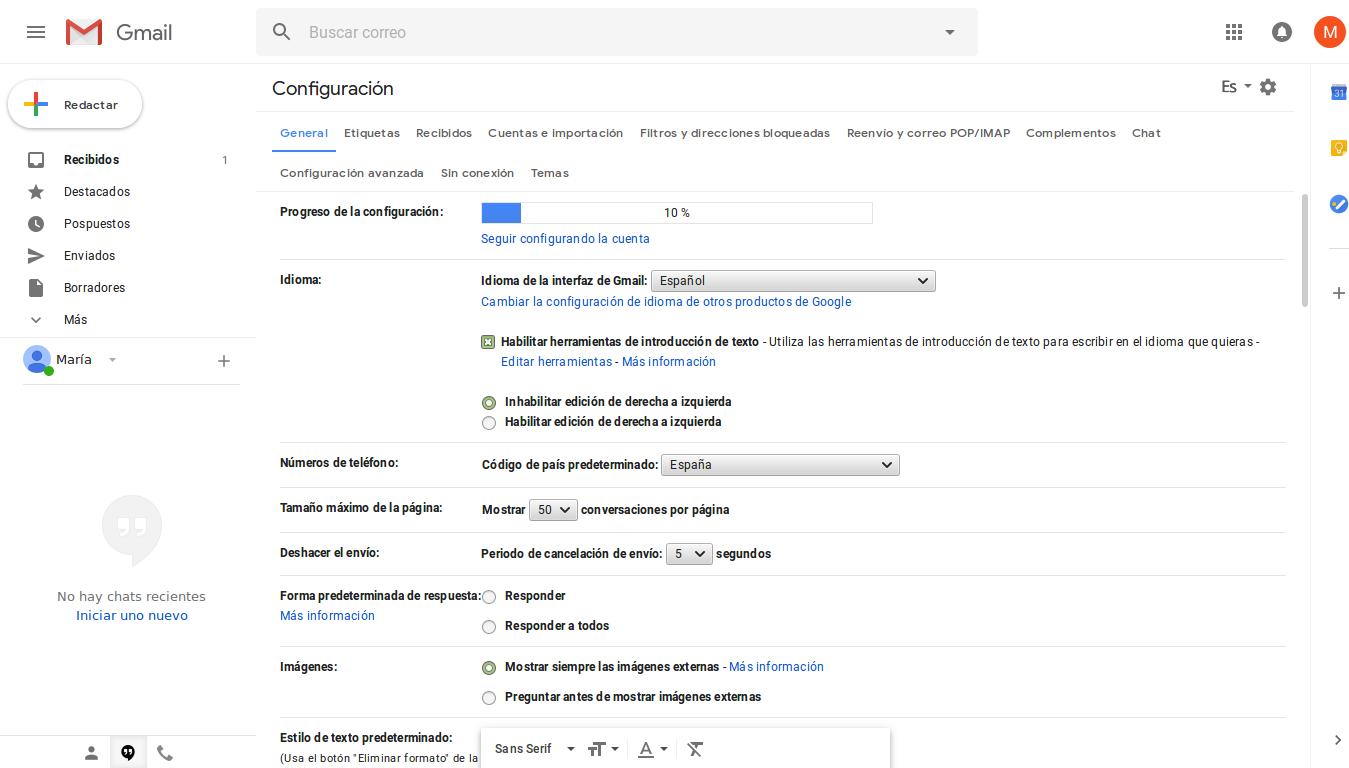 Activar TLS en Gmail