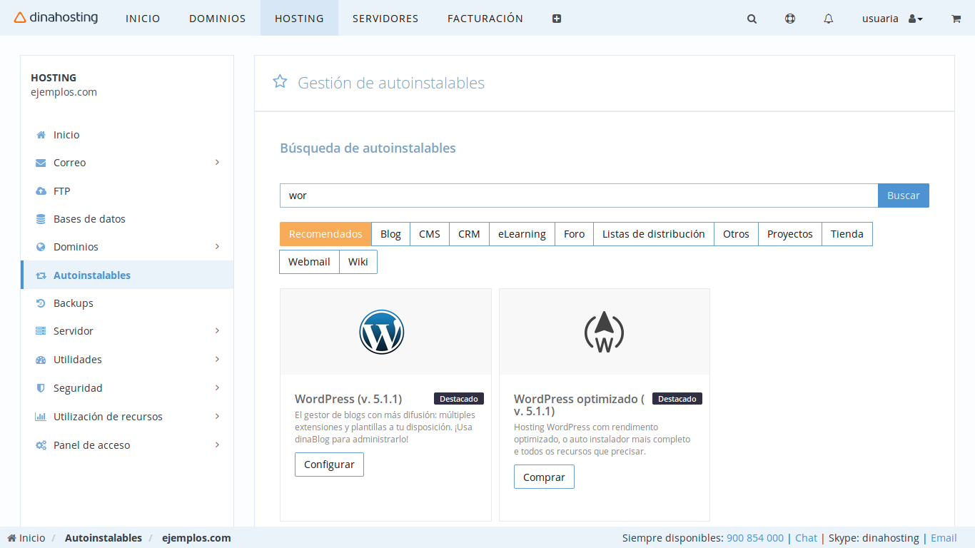 Instalar WordPress Hosting dinahosting
