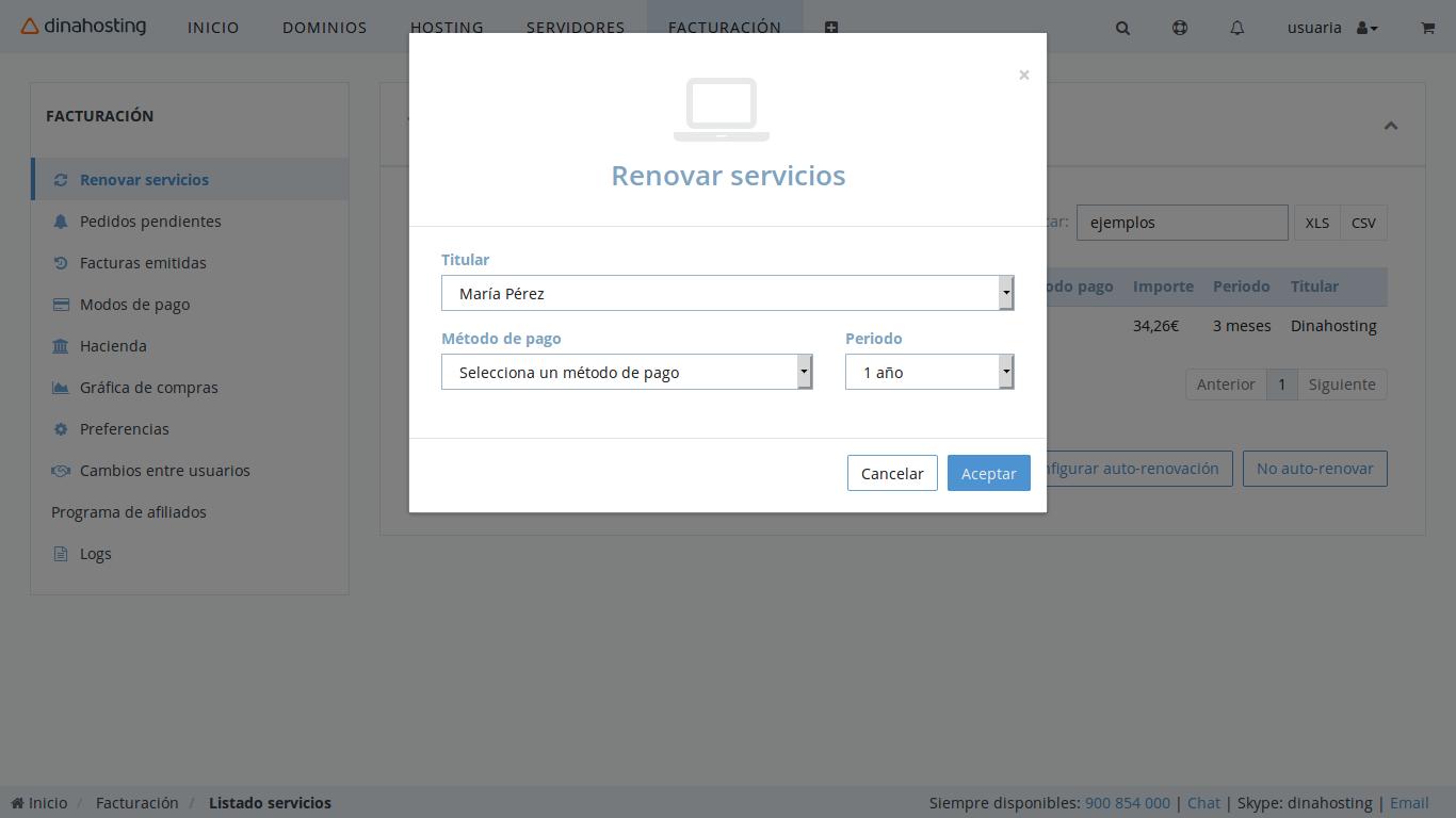 renovación automática dinahosting