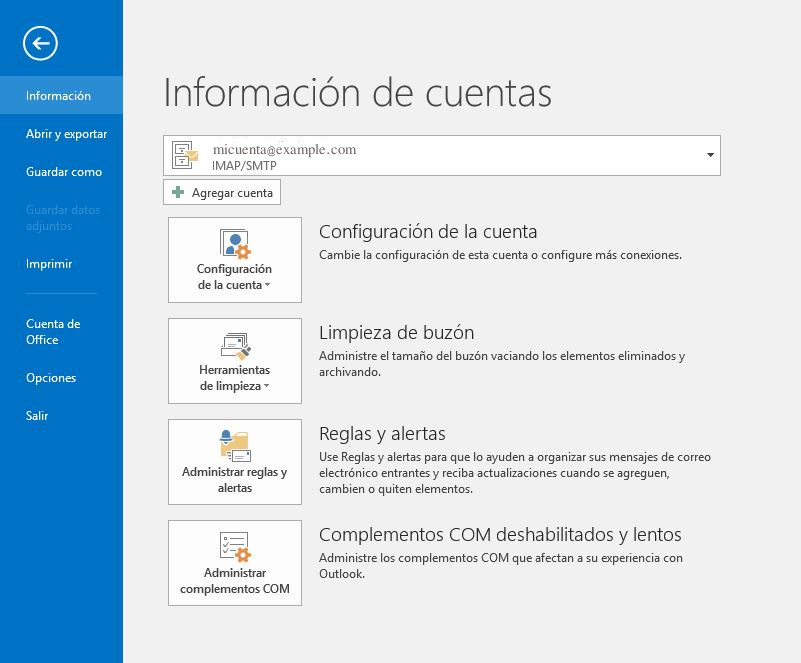 configurar correo Outlook 2016