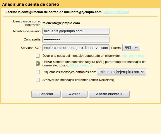 Configurar correo entrada gmail