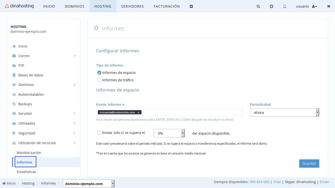 consumo hosting dinahosting