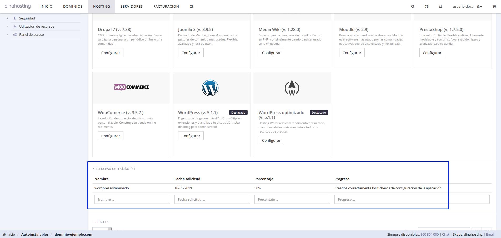 WordPress dinahosting