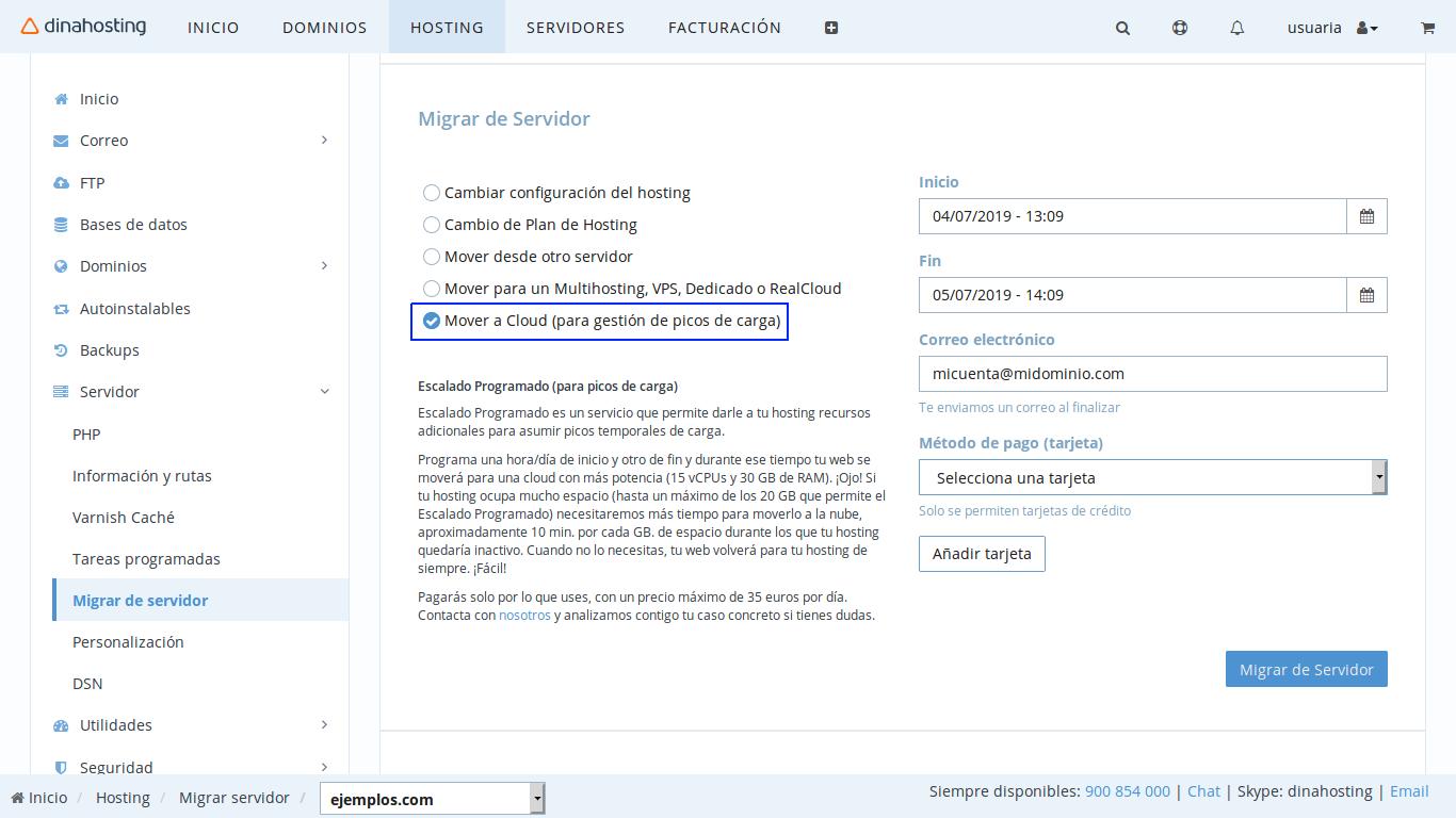 Migrar de servidor en dinahosting
