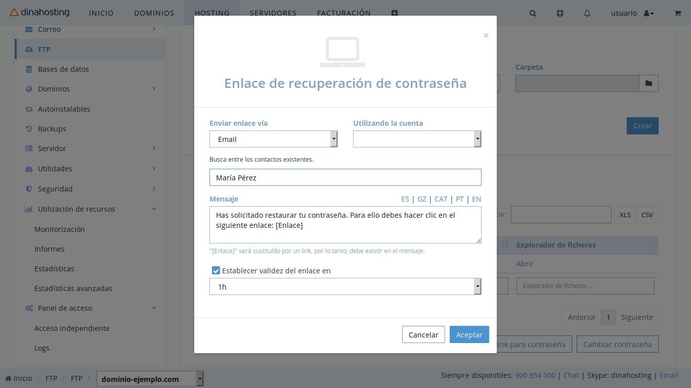 Recuperar contraseña de FTP o correo vía email