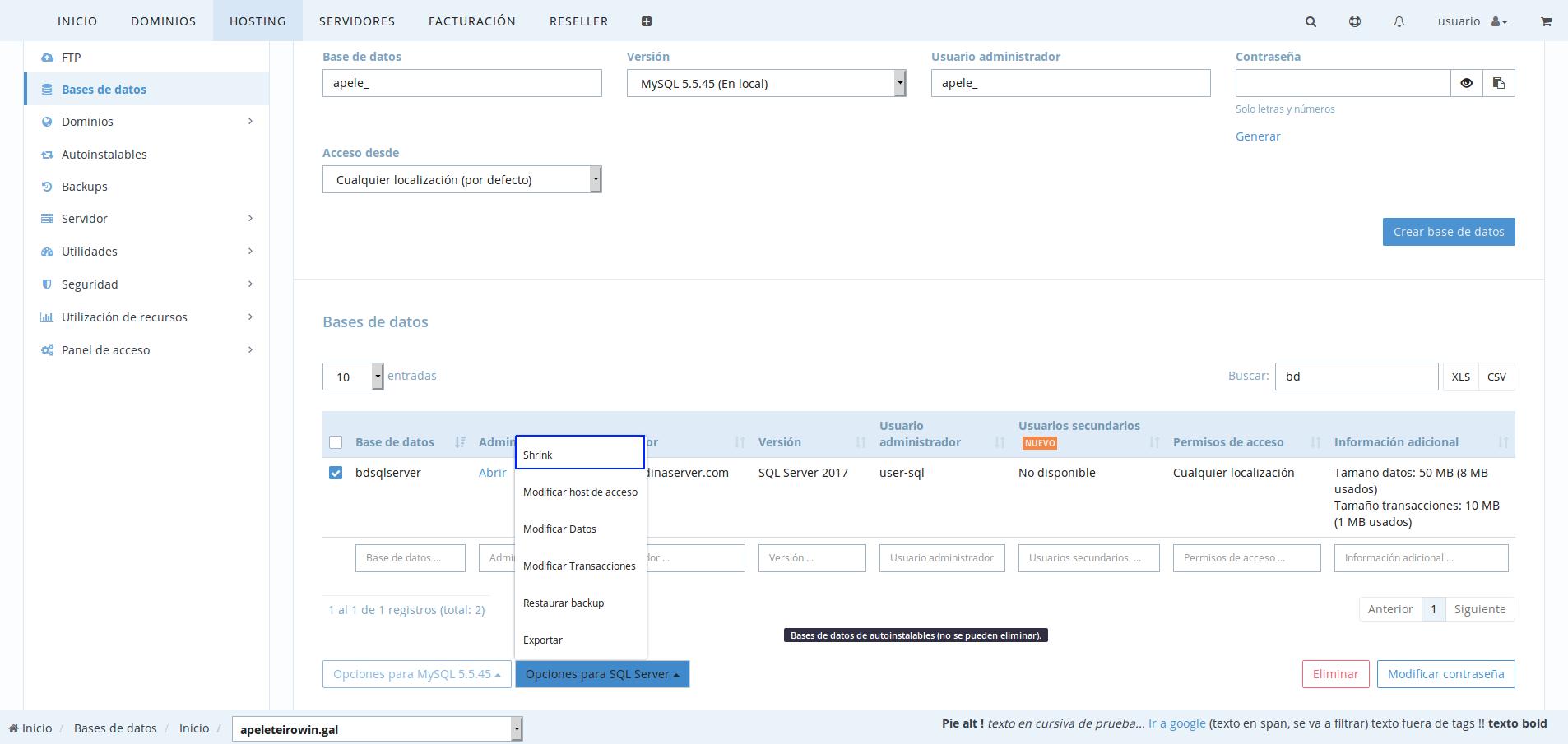 limpiar espacio de transacciones en SQL Server en dinahosting