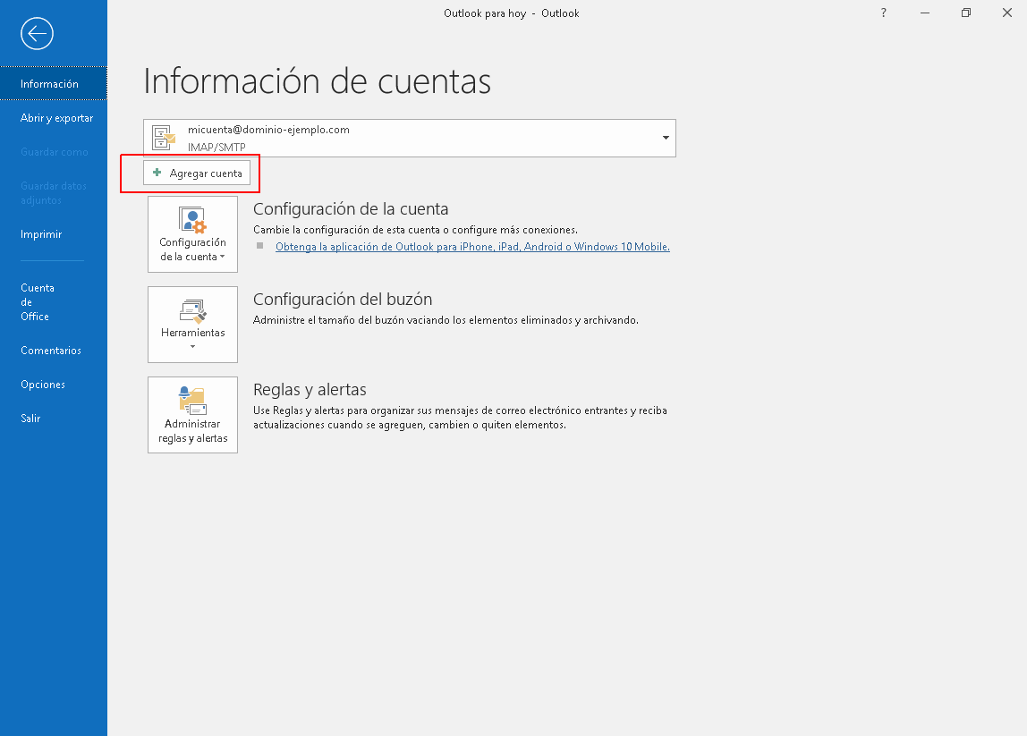 Configurar correo en Outlook 2019