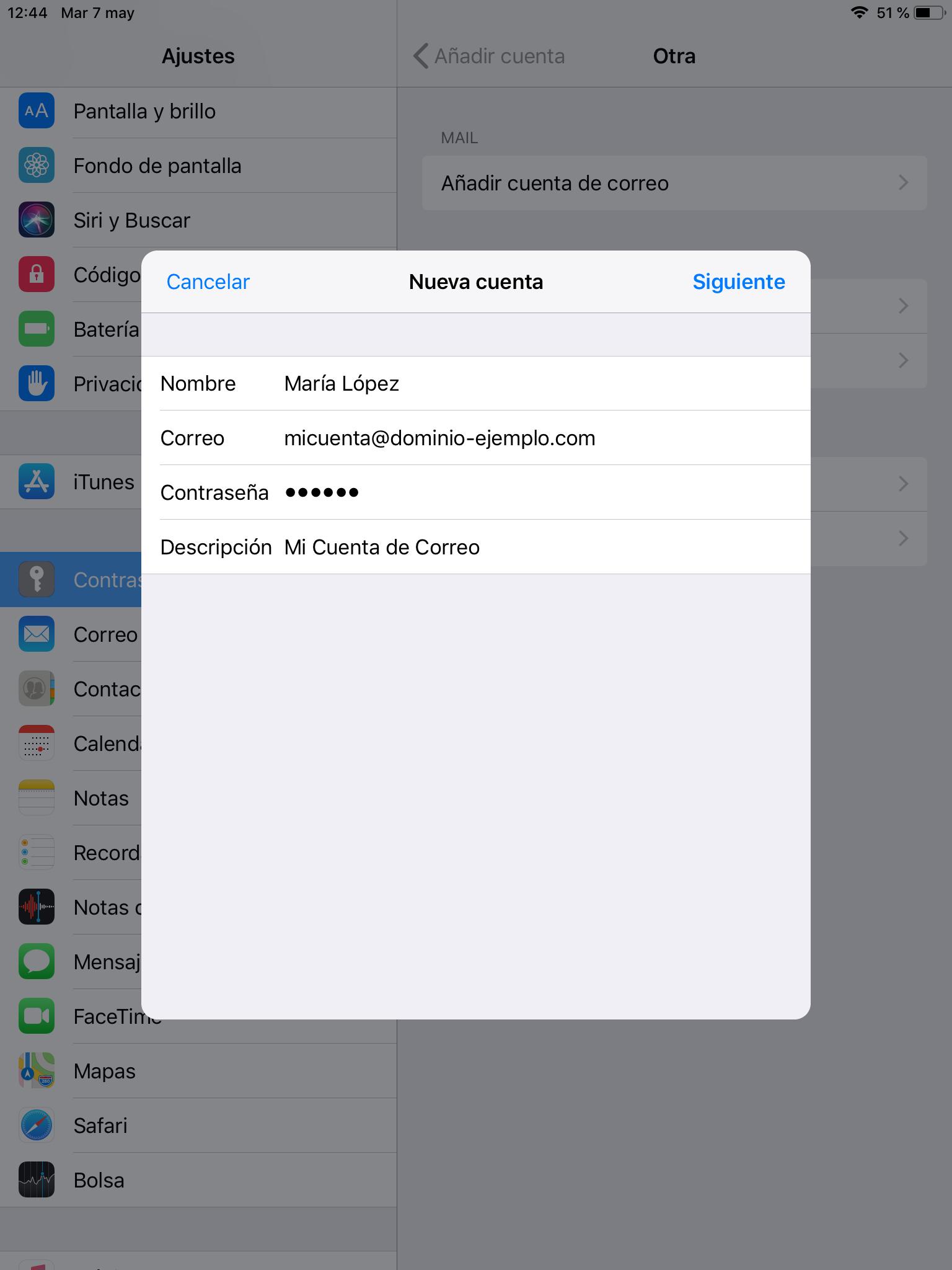 Configurar cuenta de correo en IOS