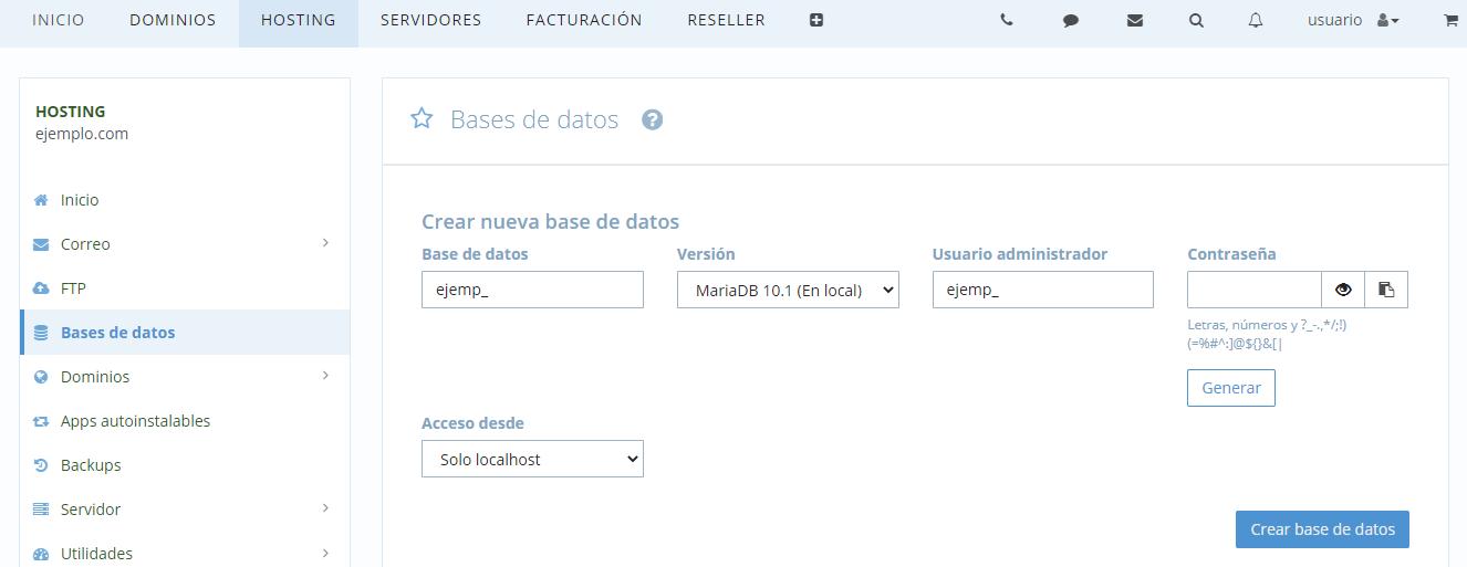 Opciones de base de datos
