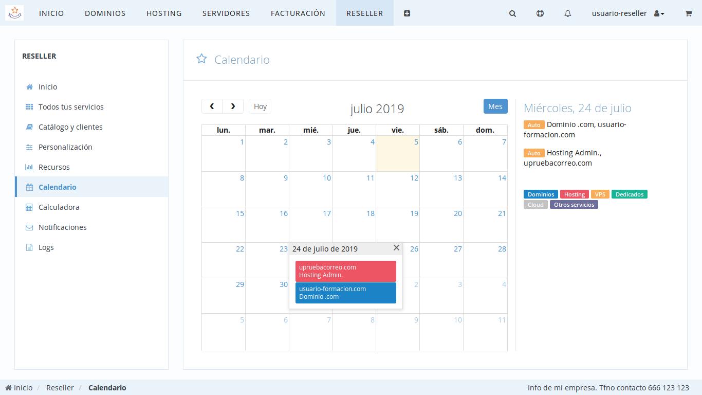 Calendario del Panel de Control de Reseller dinahosting