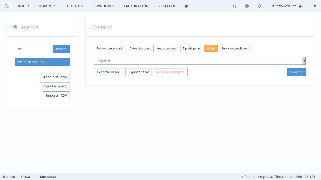 Personalizar idioma de clientes de Reseller
