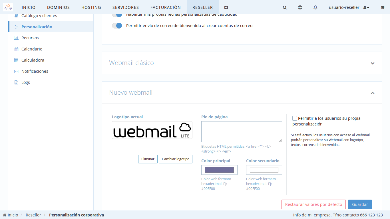 Personalizar webmail clientes de Reseller
