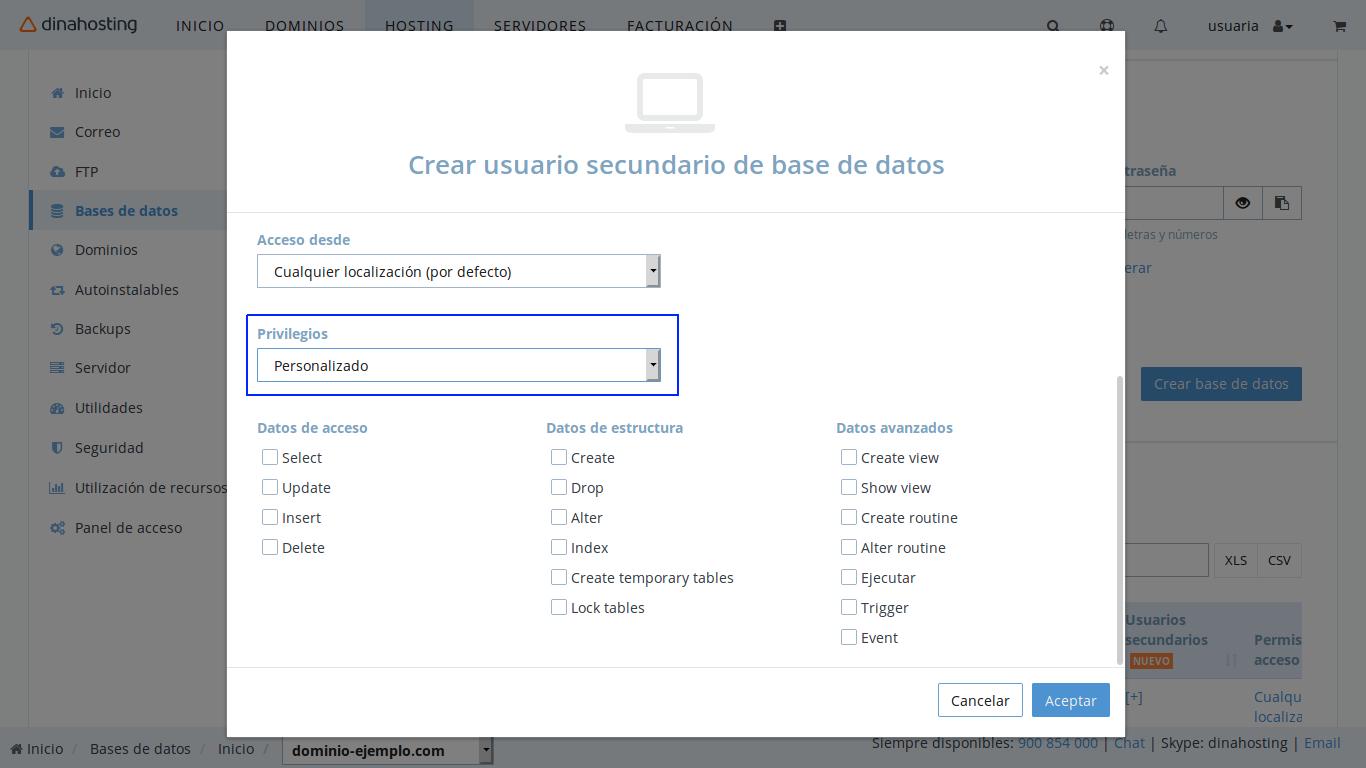 Permisos personalizados de base de datos