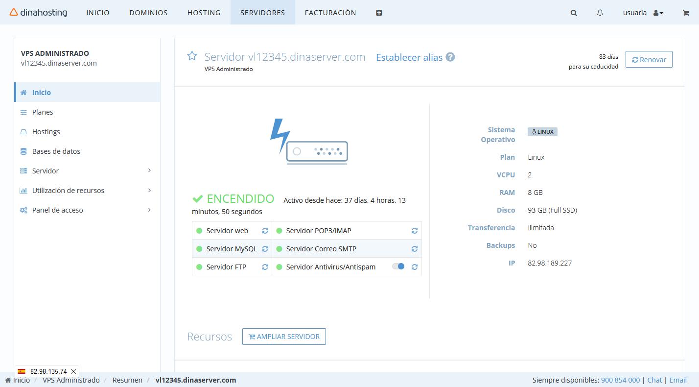 Panel de Control VPS Administrado dinahosting