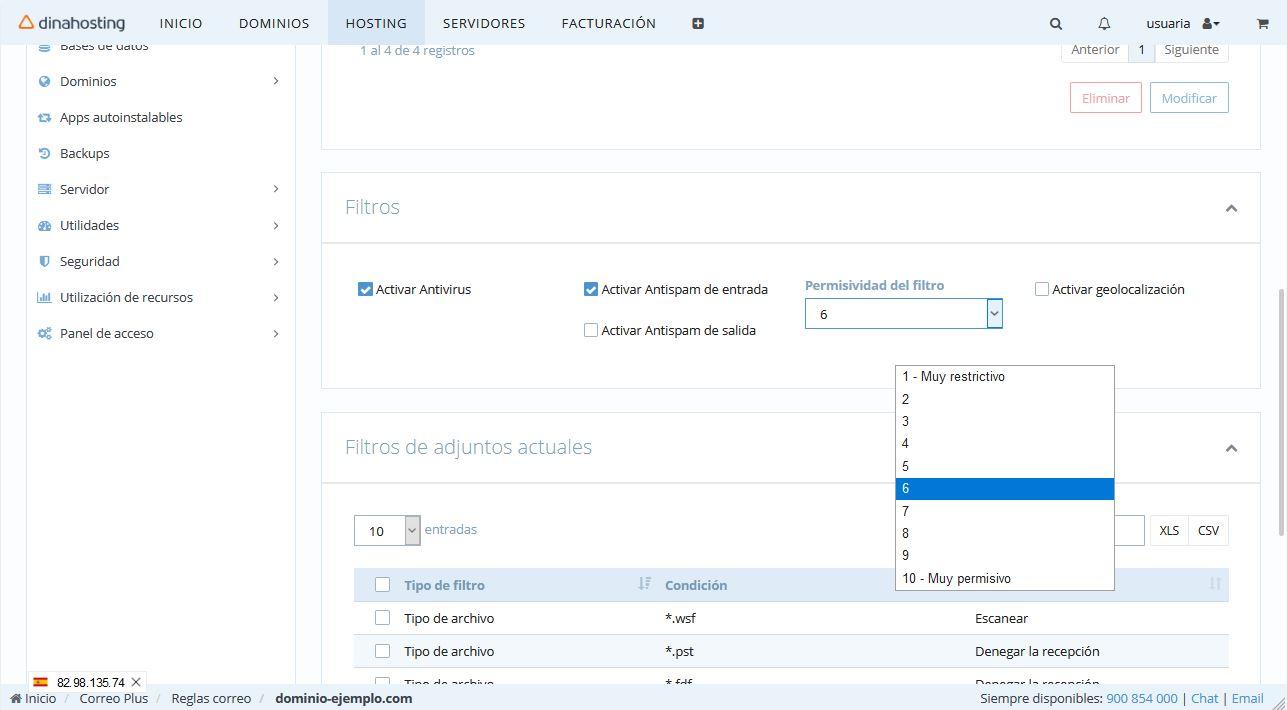 filtro antivirus y Antispam