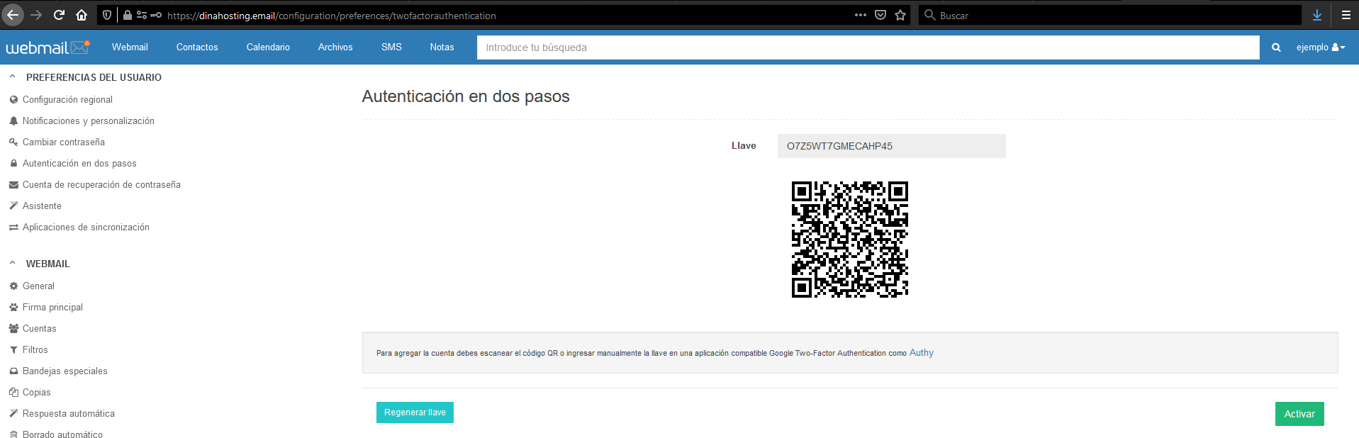 2FA Webmail