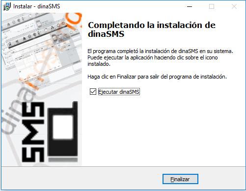 Completando instalación de DinaSMS en Windows