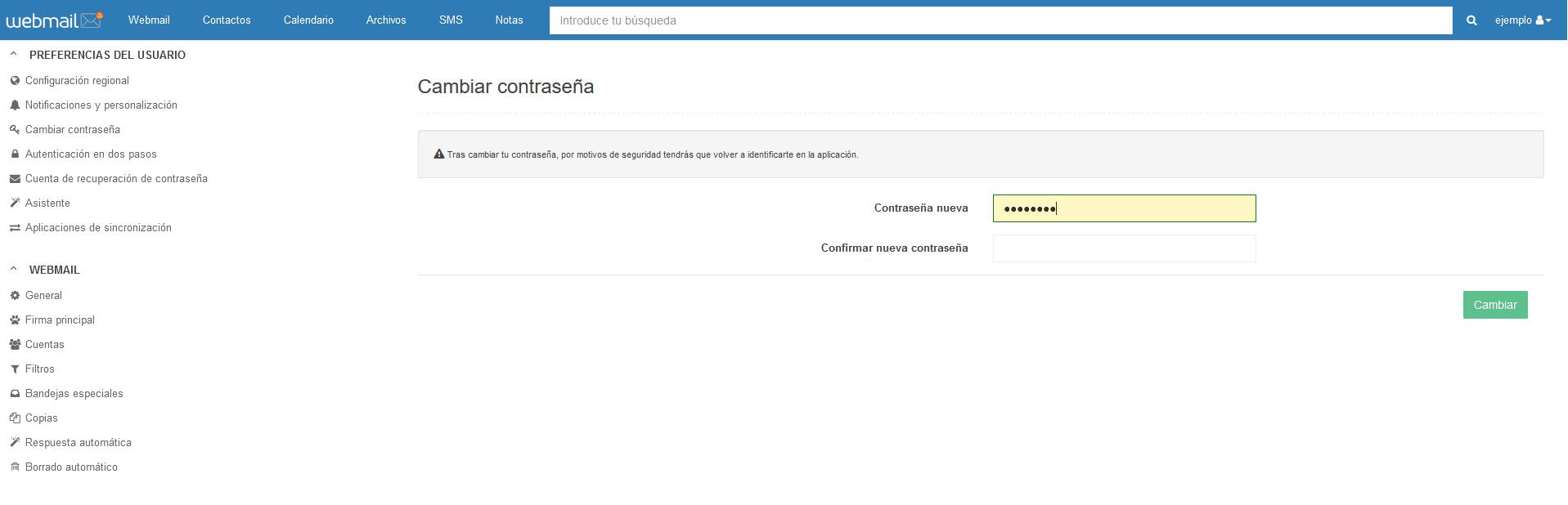 contraseña webmail