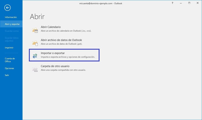 backup correos local en Outlook