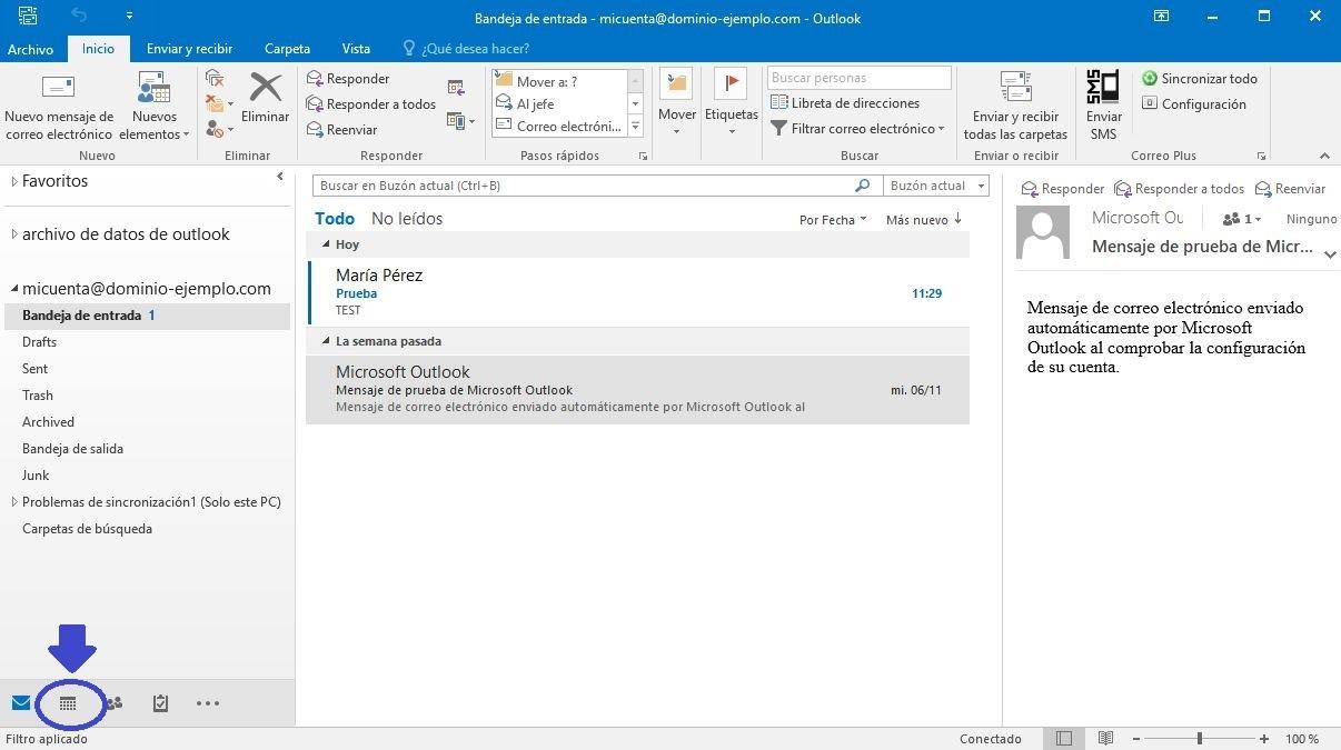 Sección calendario en Outlook