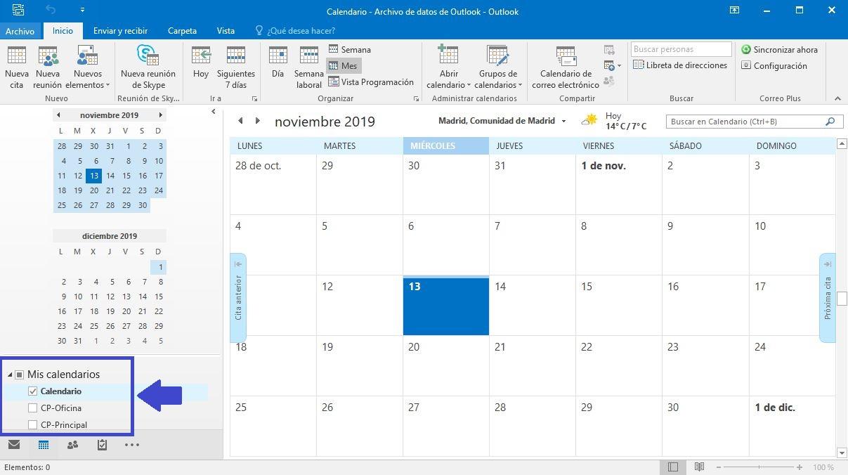 Sincronizar calendarios y tareas en Outlook