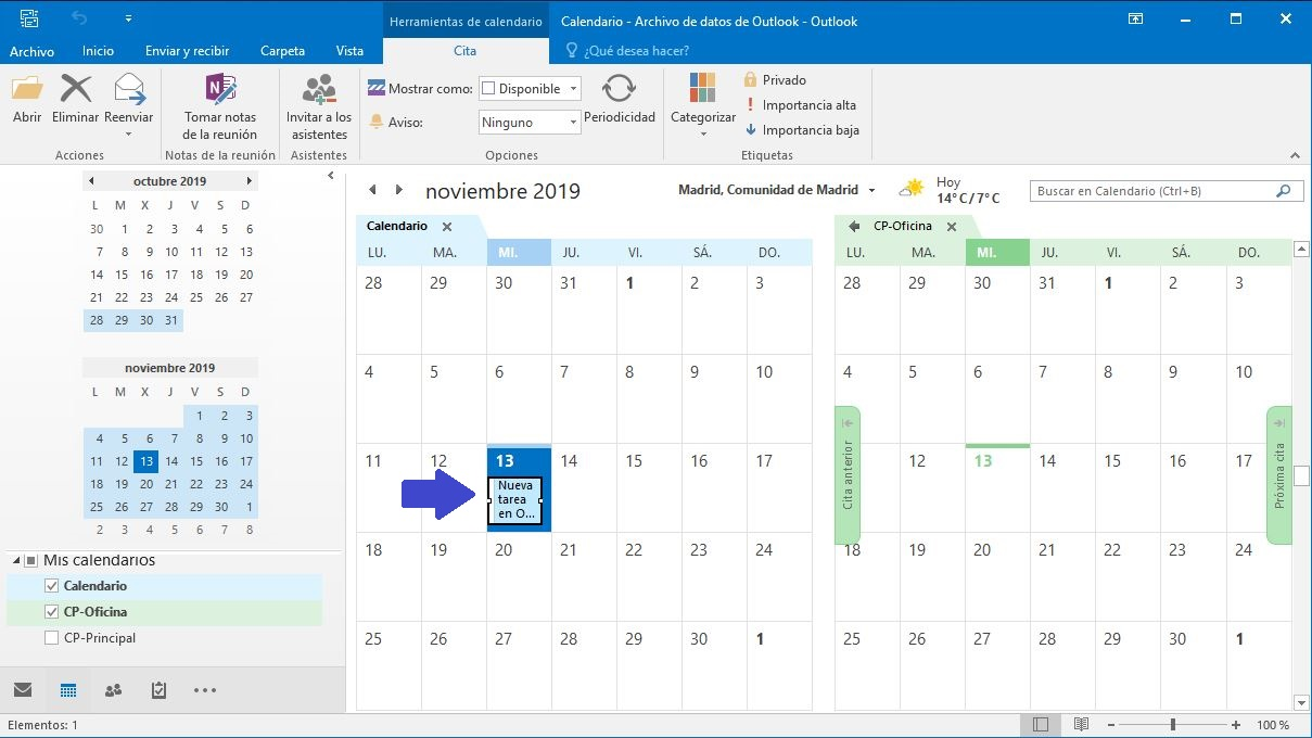 Añadir tarea calendario Outlook