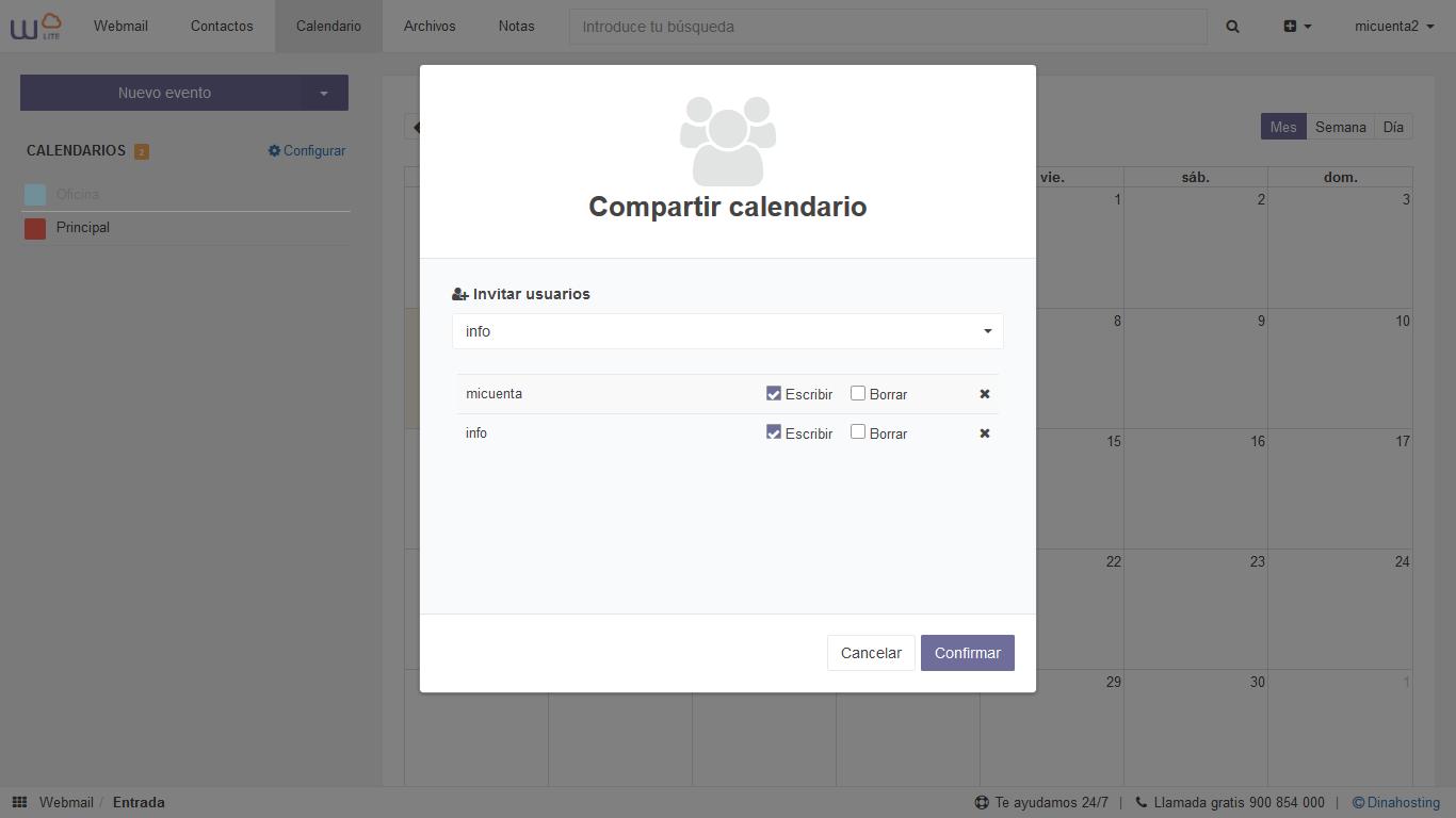 compartir calendario webmail dinahosting