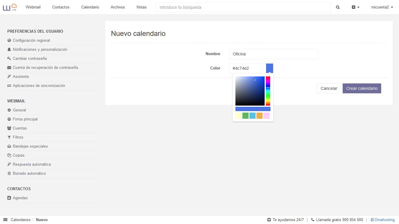 Crear calendarios con webmail dinahosting