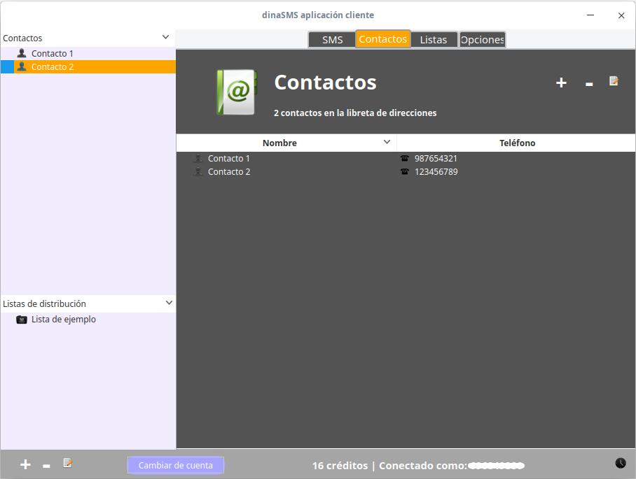 Uso de DinaSMS en Linux: Contactos