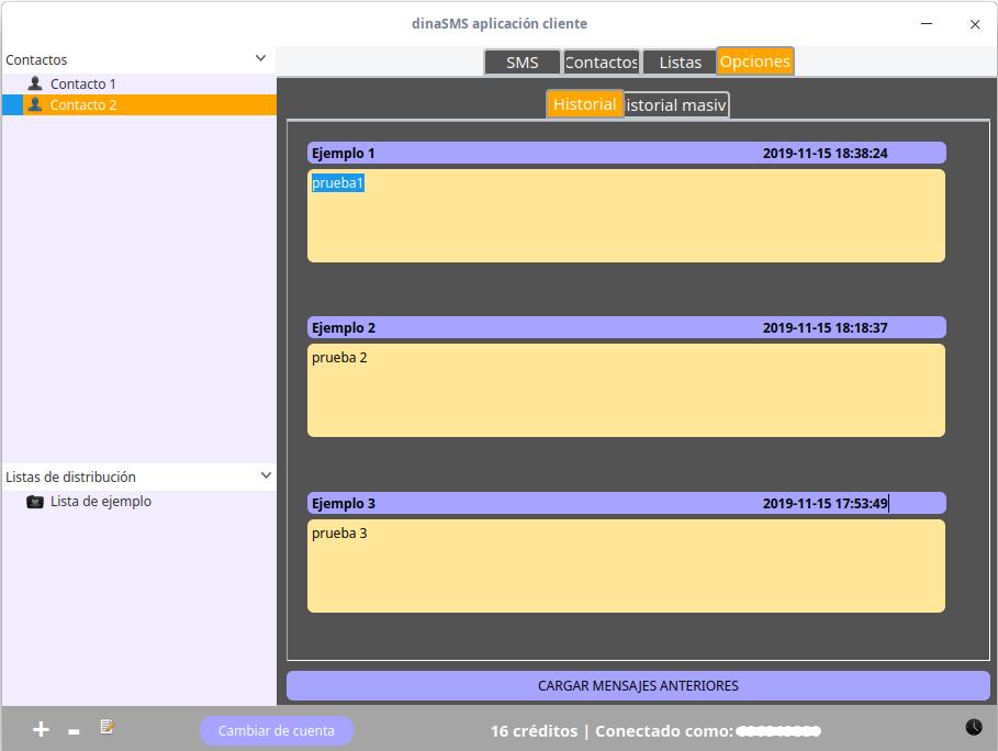 Uso de DinaSMS en Linux: Opciones