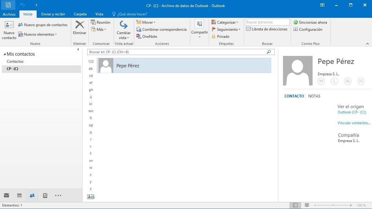 Crear contactos en Outlook