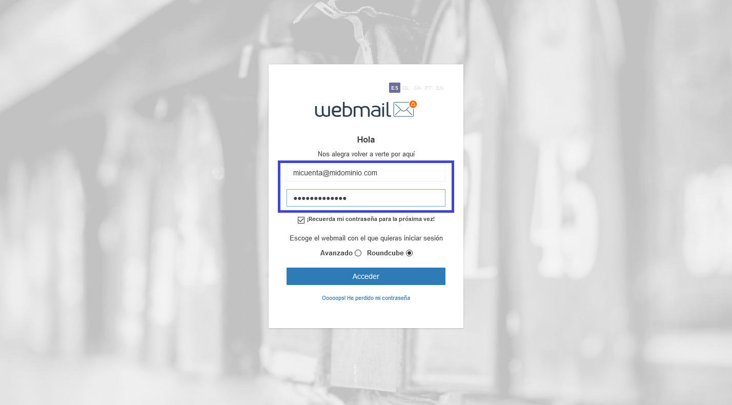 Acceso Webmail dinahosting