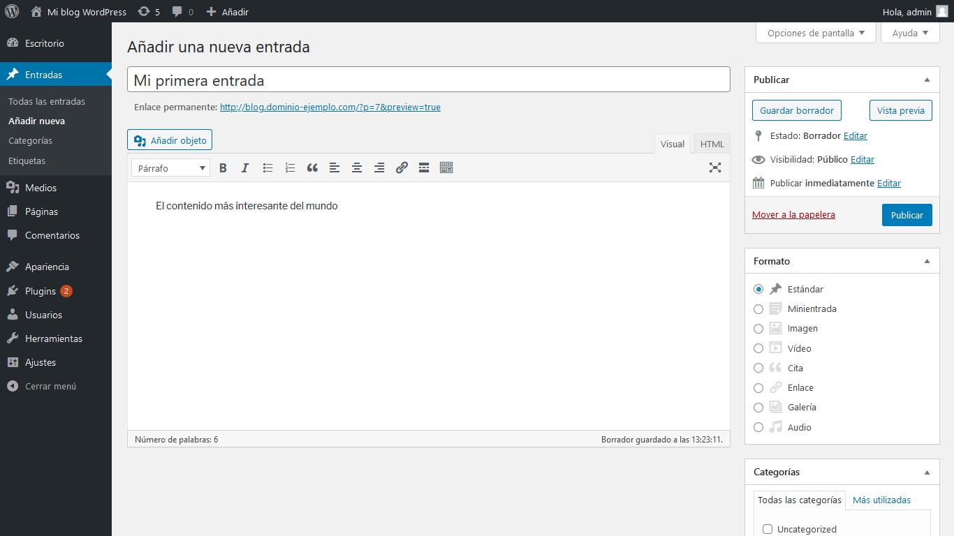 Añadir título y contenido de entrada en WordPress