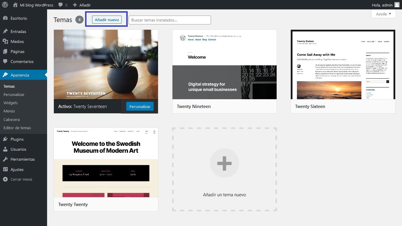 Añadir tema WordPress
