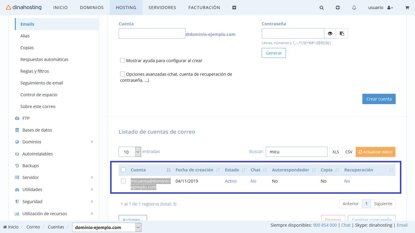 Crear cuenta de correo en dinahosting