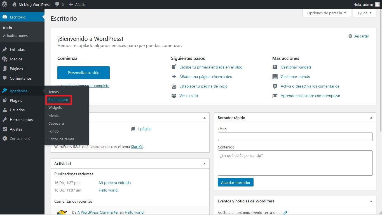 Personalizar tema WordPress