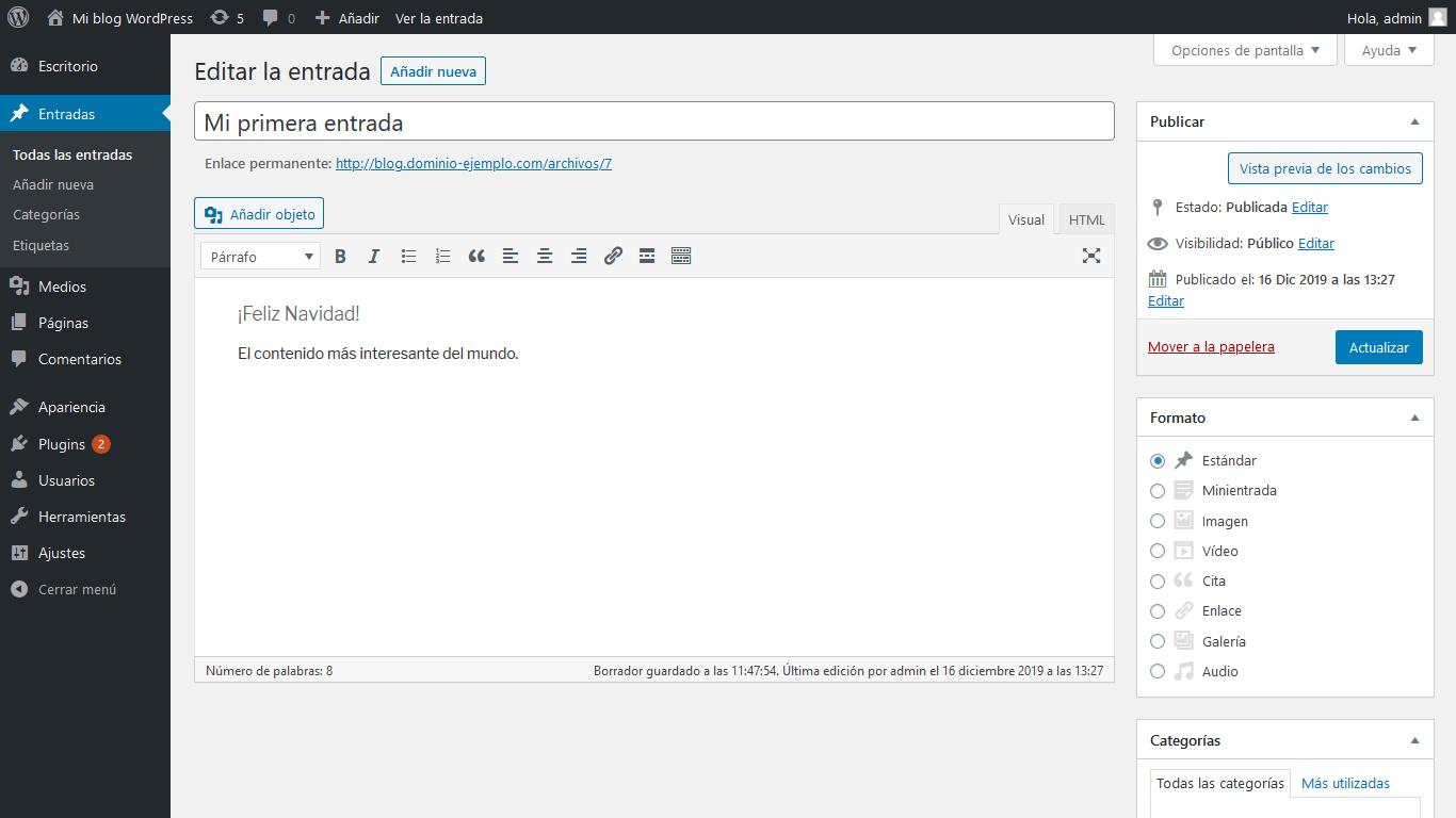 Añadir formato entrada WordPress